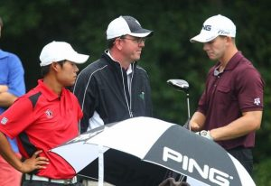 Porter Cup Tournament Director Steve Denn stands on the 13th tee with Justin Shin, left, and Tyler Dunlap.  (Matthew Masin/Buffalo News)