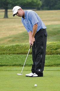 Paul Haley, of Houston, Texas, putts on the first hole at the Niagara Falls Country Club during first round action at the 53rd Annual Porter Cup. Rodgers is second place shooting an eight under for the first day of tournament play. (Dan Cappellazzo/Niagara Gazette)