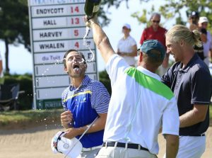 Harrison Endycott is doused after winning the Porter Cup at Niagara Falls Country Club. (Harry Scull Jr./Buffalo News)