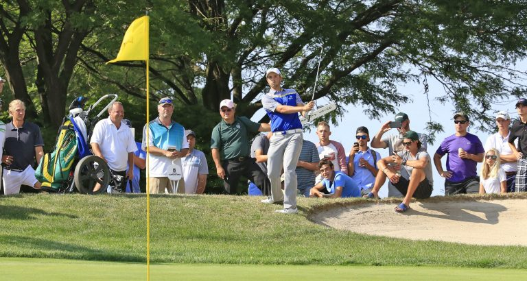 Harrison Endycott hits the flop shot that set up his victory at the Porter Cup. (Harry Scull Jr./Buffalo News)