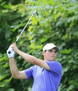Gavin Hall tees off on the 16th hole during the second round of the Porter Cup at Niagara Falls Country Club. (Harry Scull Jr./Buffalo News)