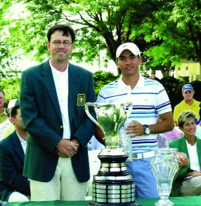 Former Porter Cup Tournament Director Steve Denn with Jason Day