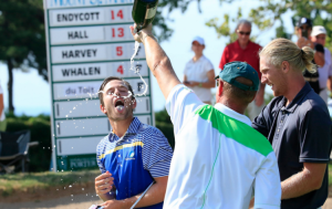 Smyth (right) watches as Endycott celebrates his Porter Cup victory last year. (Harry Scull Jr./The Buffalo News)